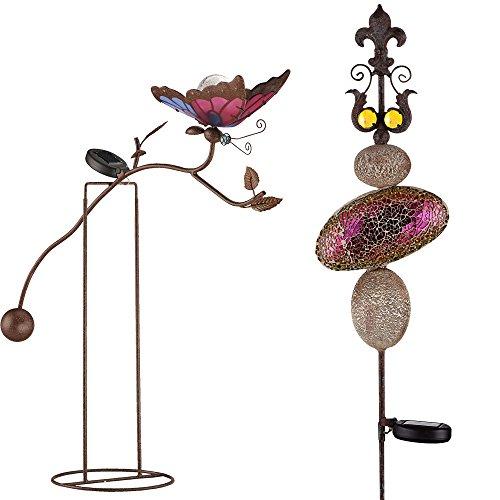 2er Set LED Außen Leuchten Glas Kugel Schmetterling rostfärbig Garten Deko Stein Solar Lampen bunt