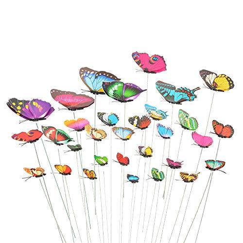 Flashes 40 Stück Garten Schmetterlinge Stangen Garten Ornamente für Hof Patio Party Dekorationen Lieferungen Schmetterlinge auf Stöcken