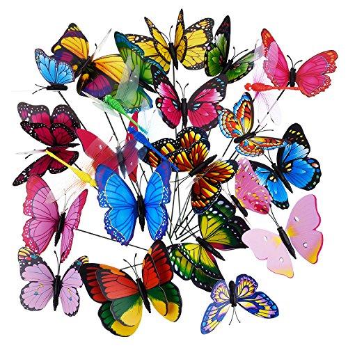 Garten Schmetterlinge auf Stöcken Libellen Schmetterlinge Gartenstecker Schmetterlinge Dekorationen Ornamente Party Lieferungen 24 Stück in Total