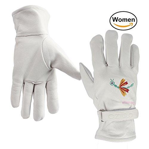 OZERO Arbeitshandschuhe Damen Leder mit Verstellbaren Klettverschlüsse Echtleder Handschuhe für Garten Baumarkt Schutzhandschuhe Gestickt mit Schmetterlinge XL
