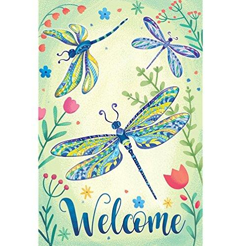 Trada Garden Flag Schmetterlings-Willkommens-Garten Flagge 125 x 18inch Garten-Yard-Blumen-Dekorationen Garten-Flagge Indoor Outdoor Home Decor Blumen Flagge 125x 18 Mehrfarbig