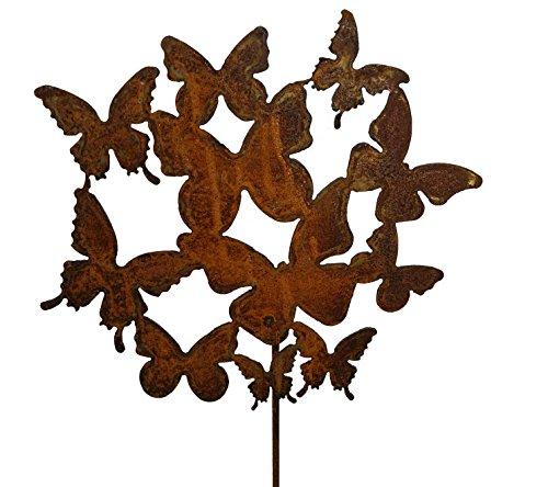Vosteen Gartenstecker Dekostecker Edelrost - Gartendeko Rost - Motiv Schmetterling Schwarm