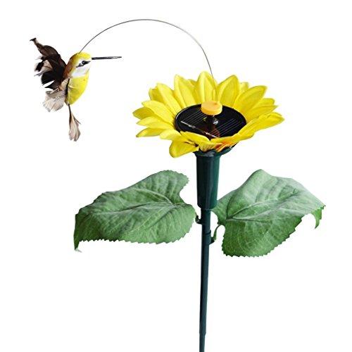 iLory Packung Solar and Batteriebetrieb Fliegen Wobble Flatternde Schmetterling  Kolibri  Sunflower für Patio-Garten-Yard Pfahl Pflanzen Blumen Hochzeit im Freien Dekor Zufällige Farbe Kolibri w  Sunflower