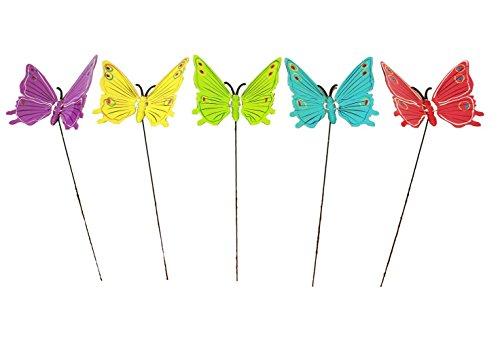 HAAC Gartenstecker Schmetterling 70 cm mit Erdspieß Farbe lila gelb grün blau oder rot für Frühling Sommer Ostern