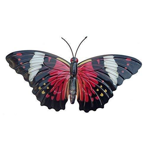 Primus groß rot schwarz Metall Garten Schmetterling Wandkunst für Außen Zäune Schuppen Wände