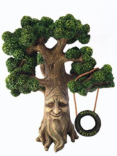 Fee und Gartengnome Baum- Magische Großvater Miniatur-Baum mit abnehmbarem im Dunkel floureszierendem Willkommensschild für Feen und Rasen Gnomes