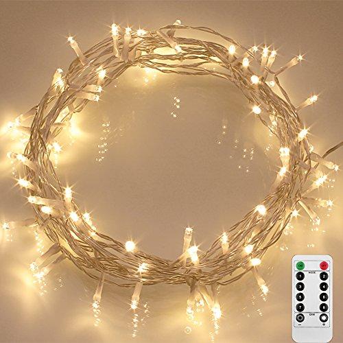 LED Lichterkette Outdoor FernbedienungHandsteuerung und Timer dimmbar Weihnachtensbeleuchtung IP65 Wasserdicht für Ihren Garten Ihren Baum AAA Batteriebetrieben Warmweiß 8 Modi 11m Kette mit Fernbedienung