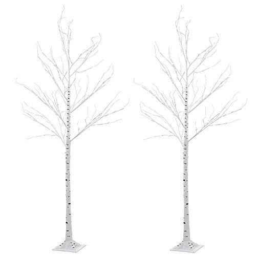 2er Set Deko Außen Baum Lampe Birke 154 x LED Steh Leuchte Garten Ambiente IP44