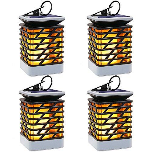 Solarleuchte Solar Laterne Garten Flackernde Flammenlampe Deko 75LED mit Flammenartige Beleuchtung IP55 Wasserdicht Automatisch Ein und Dekoration Solar Hängeleuchte Lampe für Haus Wege Baum