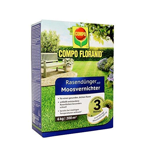 COMPO FLORANID Rasendünger mit Moosvernichter 3 Monate Langzeitwirkung Feingranulat 6 kg 200 m²