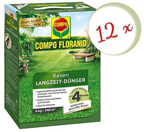 Oleanderhof Sparset 12 x COMPO Floranid Rasen-Langzeitdünger 6 kg  gratis Oleanderhof Flyer