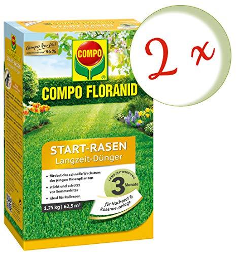 Oleanderhof Sparset 2 x COMPO Floranid Start-Rasen Langzeit-Dünger 125 kg  gratis Oleanderhof Flyer