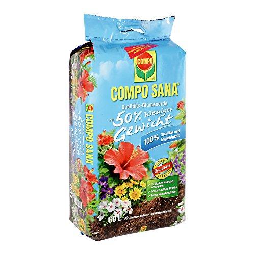 Compo 22202 Sana Qualitäts Blumenerde 50 weniger Gewicht 60 L
