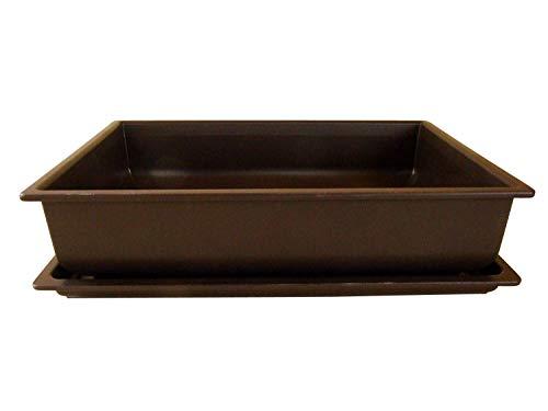 Bonsaischale aus Kunststoff  mit dunkelbraunem Untersetzer  Länge 40cm - Breite 30cm - Höhe 10cm  eckige Form