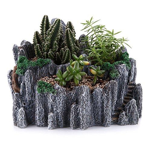 T4U 195CM Micro Landschaft Stil Harz Kunststoff Sukkulenten Töpfe Kaktus Pflanze Töpfe Mini Blumentöpfe Berg Gipfel Form Grau