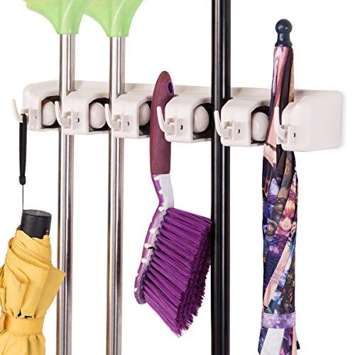 COSTWAY Besenhalter mit 6 Haken und 5 Schnellspannern  Werkzeughalter  Mop Halter  Gerätehalter  Wandhalter  Wandhalterung  Geräteleiste  Wandhalter