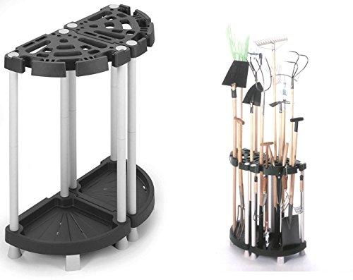Kreher Variabler Gartengerätehalter aus robustem Kunststoff in SchwarzGrau Teilbar als Eck- oder Wandlösung Für viele Geräte wie Besen Spaten Rechen uvm Maße 73 x 375 x 775 cm