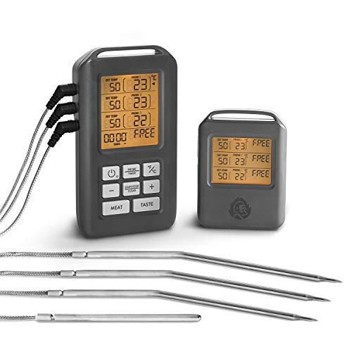 Burnhard Funk Grillthermometer Digital Braten-Thermometer für Grill Backofen 4 Temperaturfühler Timer BBQ Thermometer Grillzubehör für Fleisch Fisch  Gratis Rezept PDF