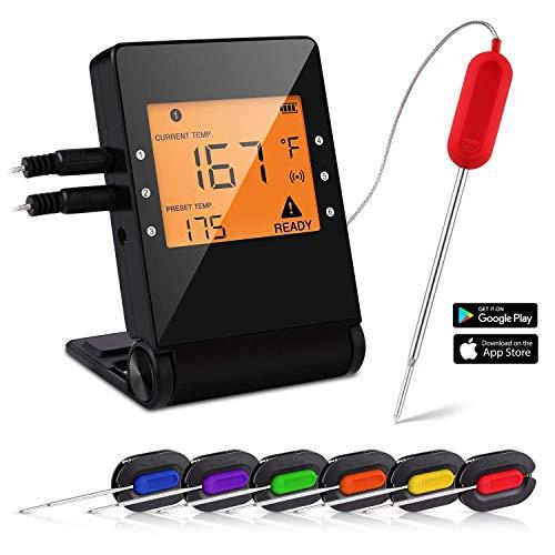 OUTCAMER Grillthermometer Bluetooth BBQ Thermometer Fleischthermometer Grill Smart mit 6 Edelstahl Sonden Remoted Monitor für Kochen Raucher Ofen Küche Unterstützung IOS Android
