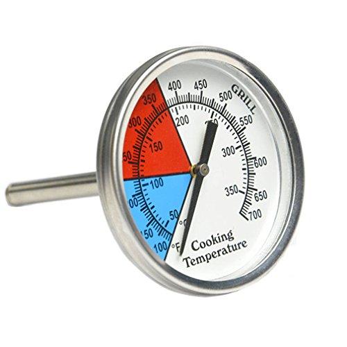 Onlyfire Edelstahl Grillthermometer bis 350°C700°F Ø 76 MM Thermometer für alle Grills Ofen Smoker Räucherofen und Grillwagen analog Grillzubehör Anzeige Celsius und Fahrenheit