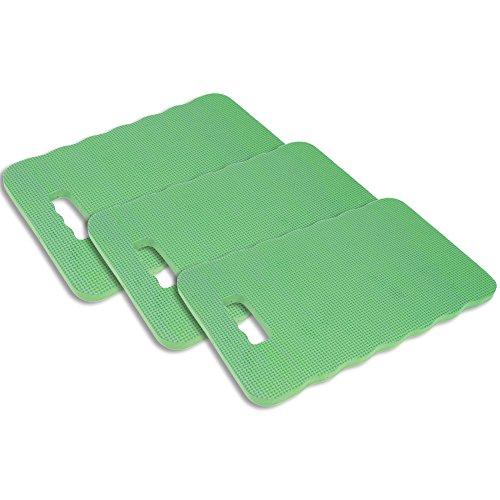com-four 3X Kniekissen - Zum Schonen Ihrer Knie - für den Garten Das Haus in der Freizeit oder für Arbeiten am Auto in grün 395 x 255 x 17 cm 40 x 26 cm - 03 Stück grün