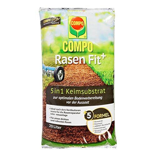 COMPO Rasen Fit 5 in 1 Keimsubstrat Für die Bodenverbesserung oder nach dem Vertikutieren 20 Liter 10 m²