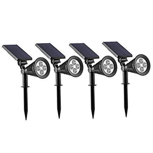 Led Solar Gartenleuchten LED Solar Strahler4xKaltweiß Solarleuchte Landscape 3th Version Superhelle Spotlight Solarbetriebene Wasserdicht für die Hinterhöfe Gärten Rasen usw