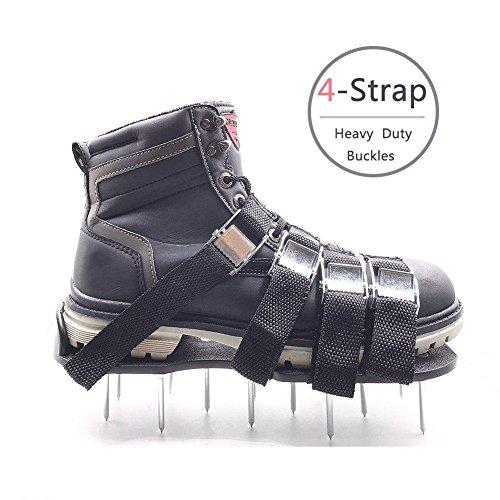 Rasen-Belüftungs-Schuhe Meiwo Spikes Belüftungs-Sandalen mit 4 justierbaren Bügeln und starken Zink-Legierungs-Wölbungen Universalgröße die alle Schuhe oder Stiefel passt
