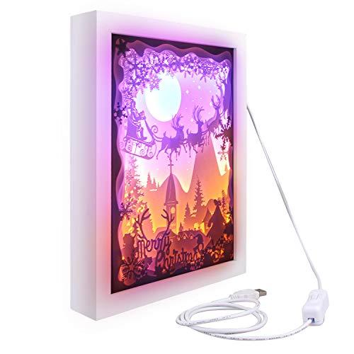 Frohe Weihnachten 3D Shadow Box Papierschnitzen Papercut LED Nachtlampe Licht für Schlafzimmer Wohnzimmer Café Tee Haus Geschenk Dekoration