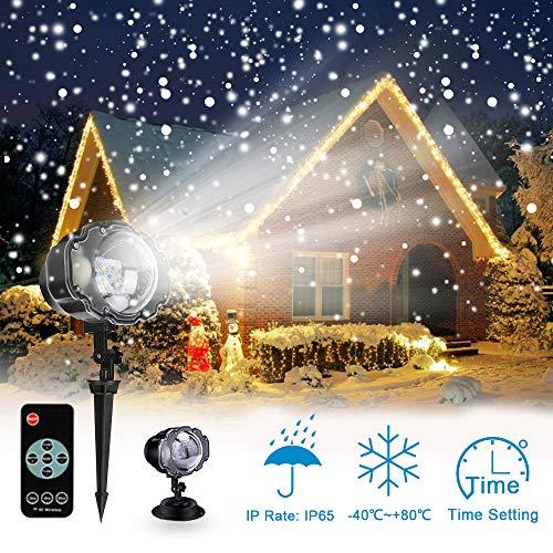 LED Projektionslampe mit Fernbedienung Bewegliche Punkte Muster Schneefall für Innen und Außen mit Fernsteuerung Beleuchtung als Gartenleuchte Projektor Mauer Dekoration Party Weihnachten und Disco