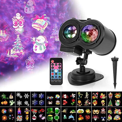 LED Projektor LED Lichteffekt 16 Motive mit Schneefall Ozeanwelle Projektor Lampe Remote und Timer IP65 Wasserdicht InnenAußen Dekoration für Weihnachten Party Garte und Kinder Geschenk
