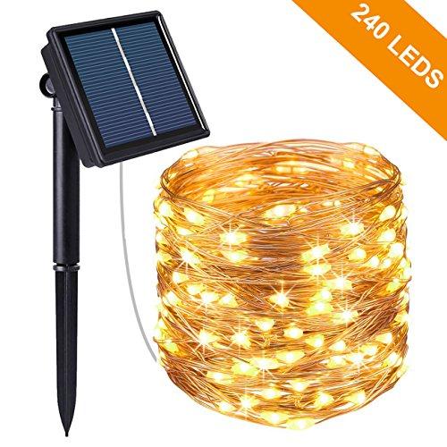 Solar Lichterkette Aussen Kolpop 24M 240 LED Außen Wasserdicht Kupferdraht Lichterketten für Weihnachten Partys Garten Hochzeiten Dekoration Warmweiß