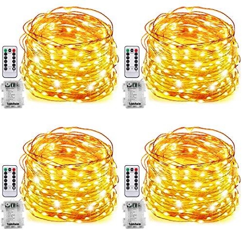 Tobbiheim 4 Stück Batterie Lichterketten Außen 50 Leds 7 Meter IP68 Wasserdicht 8 Modi mit Fernbedienung und Timer Diy Dekoration Kupferdraht für Weihnachten Garten Hochzeit Kunststoff Warmweiß