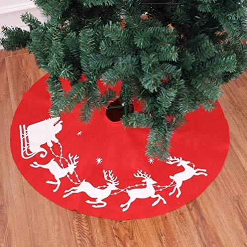 Topanke Weihnachten rot Baum Rock 100 cm Christbaumständer Standfuß Dekoration Rentier Hirsch Schürze Festive Ornament Rot
