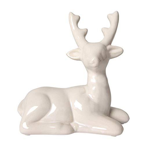 Buri Deko Hirsch liegend weiß Keramik Weihnachtsdeko Tierfigur Dekofigur Tischdeko