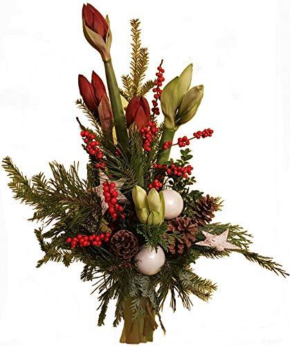 WEIHNACHTSSTRAUß  Blumenstrauß  Tanne AMARYLLIS weiß rot  WEIHNACHTSDEKO Weiß Weihnachtsflair