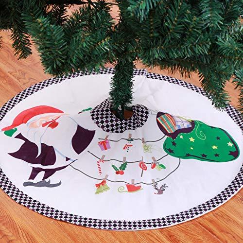 Weihnachtsbaum Decke Weihnachtsmann Gedruckt Weihnachtsbaum Rock Dekoration Kariert Drucken Weihnachtsbaumdecke Weihnachtsbaum Röcke Weihnachtsschmuck Weihnachtsbaum Deko Weihnachtsdeko Weiß90cm