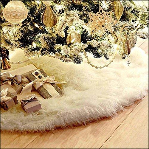 WeihnachtsdekoWawer 78cm Weihnachtsbaum Röcke Bodenmatte Weiß Plüschdecke Baumständer Weihnachtsbaum Decke Weihnachtsbaum Rock Dekorationen Ornamente Weiß