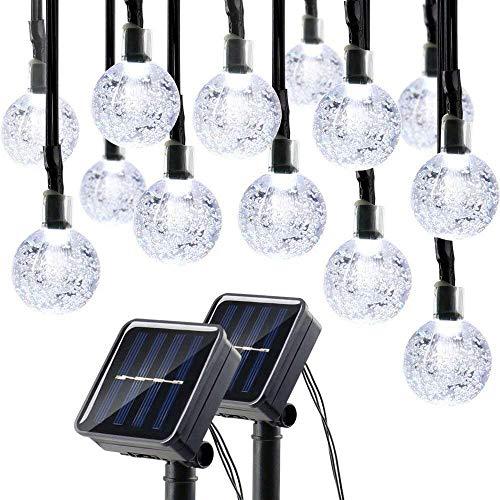 lederTEK Solar Lichterkette Weihnachten 6m 30er LED 2 Stück Kugel Form Wasserdichte Weihnachtsbeleuchtung Weihnachtsdeko für Party Außen Hausweiß