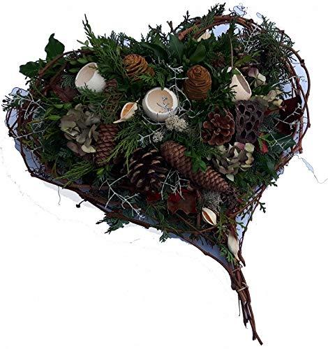 GRABGESTECK  Lieferung DEUTSCHLANDWEIT  Totensonntag  Trauergesteck Herz  weiß Herzenstreue Größe 39 Euro