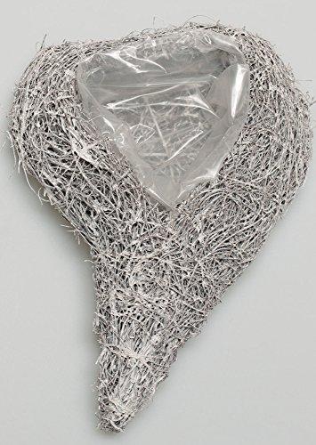 Rattan Reben Pflanzherz Weiß Grau Swing 28cm x 19cm x 7cm Geschwungenes Herz Zum Bepflanzen Rattanherz Herzschale Herzkorb Dekoherz Hochzeit Gastgeschenk Tischdeko