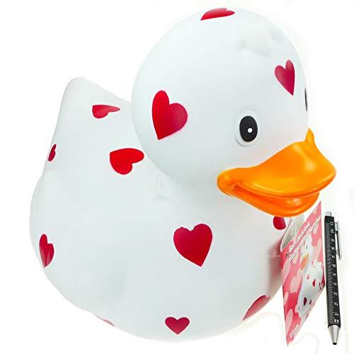 Rotix Badeente XXL 26 cm lang 23 cm hoch Dekoente fürs Bad weiß mit Herz