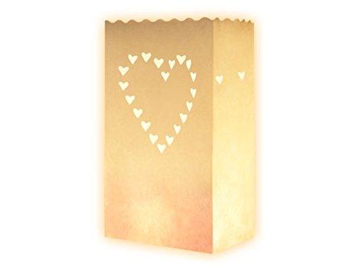 Trendmausde 10 Stk Kerzentüte Lichttüten weiß Kerzentüte Herz