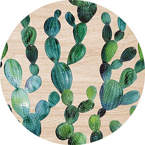Cuadros Lifestyle 2D-Wandobjekt aus Holz  Kaktus  Kakteen  Wandteller  Holzbild  Shabby-Look  Landhaus  Vintage  Holzobjekt  Deko  Holzdruck  Geschenk Größeca 40x40cm