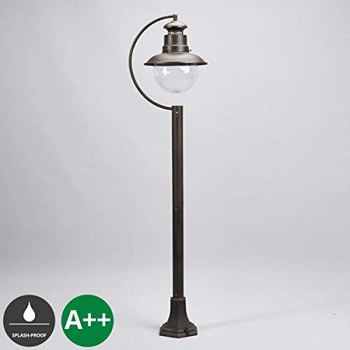 Lampenwelt AußenleuchteEddie dimmbar spritzwassergeschützt Landhaus Vintage Rustikal in Braun aus Glas 1 flammig E27 A  Wegeleuchte Pollerleuchte Wegelampe Sockelleuchte