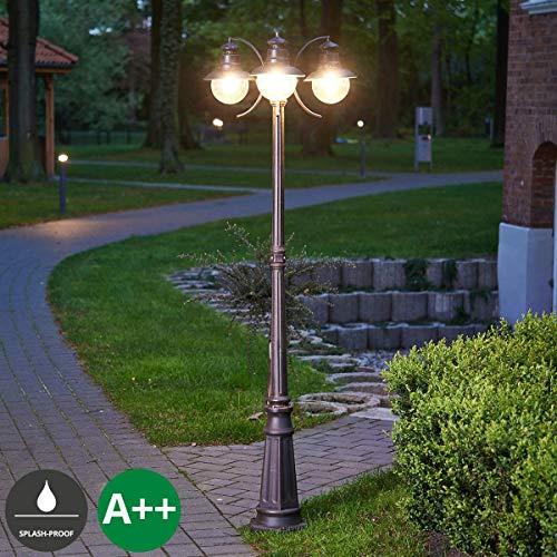 Lampenwelt Mastleuchte außenEddie dimmbar spritzwassergeschützt Landhaus Vintage Rustikal in Braun aus Glas 3 flammig E27 A  Kandelaber Außenleuchte