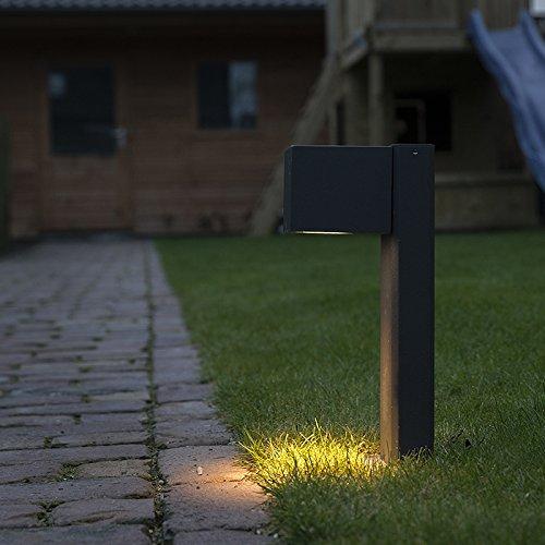 QAZQA LandhausVintageRustikalModern AußenleuchteSockelleuchte Baleno Pfahl 30cm dunkelgrauAußenbeleuchtung AluminiumGlas Länglich LED geeignet GU10 Max 1 x 11 Watt