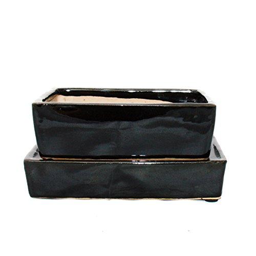 Bonsai-Schale mit Wasserspeicher-Untersetzer - Gr 3 - schwarz - rechteckig - L 164cm - B 11cm - H 5cm