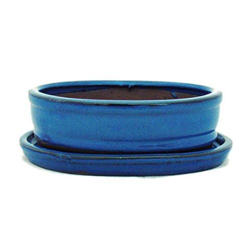 Bonsaischale mit Unterteller Gr 2 - Blau - oval - Modell O7 - L 155cm - B 12cm - H 45cm