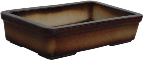 K&K Bonsaischale  Pflanzschale rechteckig Outdoor geeignet braun-geflammt 29x18x7cm aus Steinzeug Keramik frostbeständig